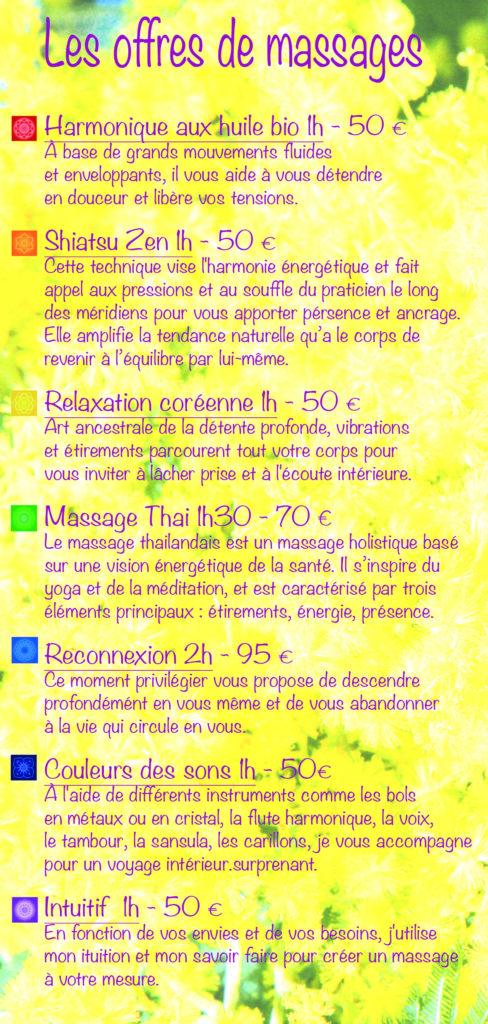 tarifs offres massage